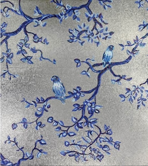 Another stunning wall by Sicis mosaic tiles. Silver grey blue white Birds and flowers. Magnificent art