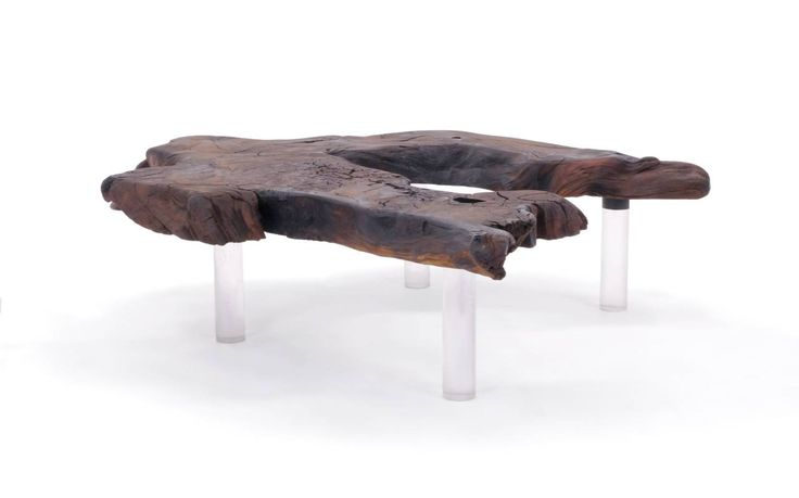 Walnut Slab Coffee Table Biomorphic Shape With Lucite Legs Outdoors Unique And The Outdoors