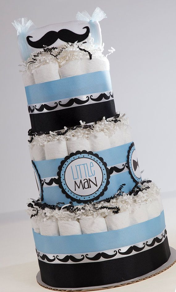"The "" Classy Little Man"" Mustache Diaper Cake. Baby Shower Centerpiece or Gift. on Etsy, $65.00"