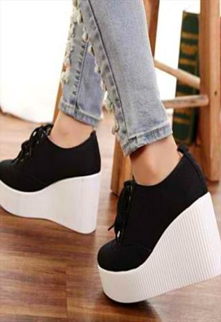 Black Canvas Wedge Shoes
