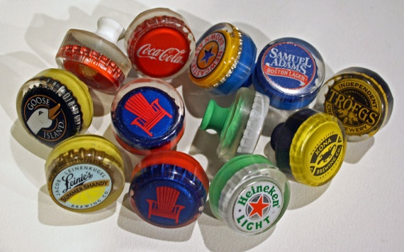 Custom Set Of Bar Cabinet Knobs Made With Bottle Caps