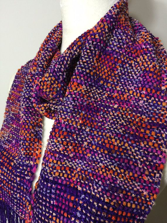 Purple Hand Woven Scarf - Handwoven Scarf - Handmade Scarf - Purple Scarf - Womens Scarf - Soft Scarf - Christmas Gift - Gift for her