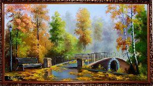 В осеннем парке у моста - Осенний пейзаж <- Картины маслом <- Картины - Каталог | Универсальный интернет-магазин подарков и сувениров