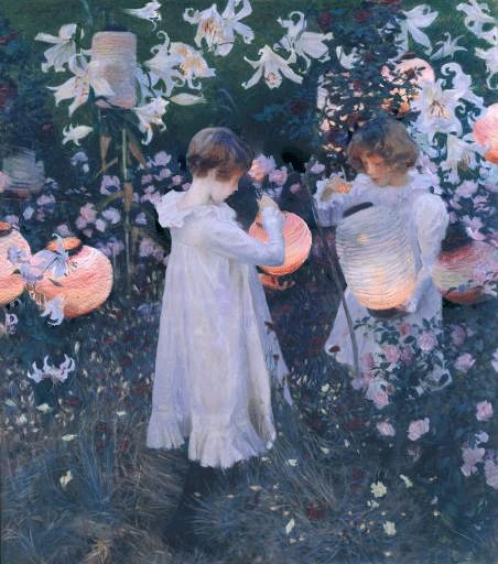 """smithsonianlibraries:  After missing all the celebrity birthdays last week, at least we rememberedJohn Singer Sargent- born January 12,1856 in Florence, Italy. GIF of """"Carnation Lily, Lily, Rose"""" from Sargent by T. Martin Wood (1909)  """"Carnation Lily, Lily Rose"""" was painted in a garden by the Thames. Two children are lighting up the Chinese lanterns, and in their light and with flowers surrounding, Sargent sees for a moment life itself by accident made idyllic."""""""