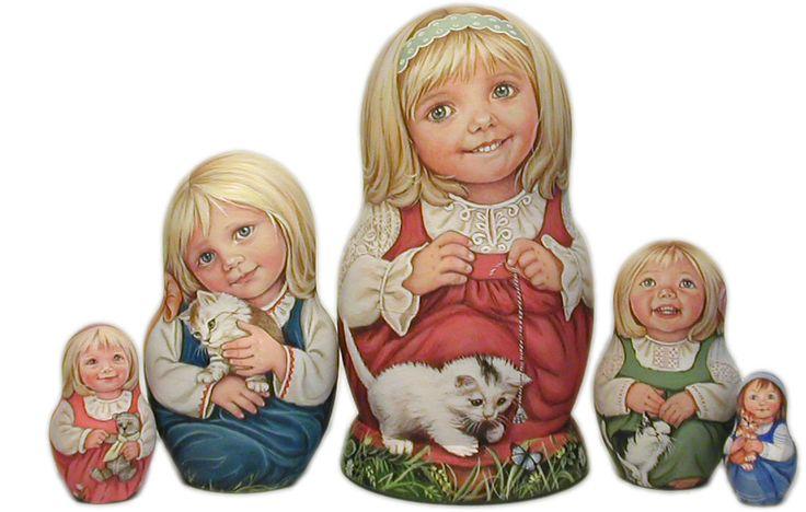 Little Girls with Kittens Mirenchenko Lida's Studio