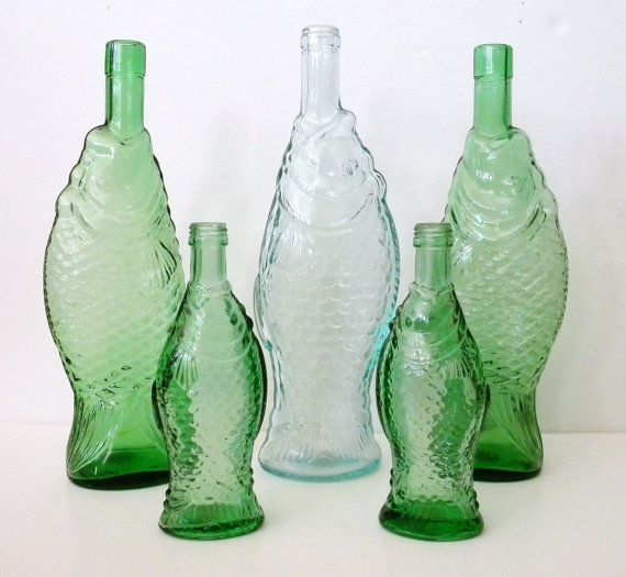 Reserved for sheryl green glass fish shaped wine bottle for Green glass wine bottles
