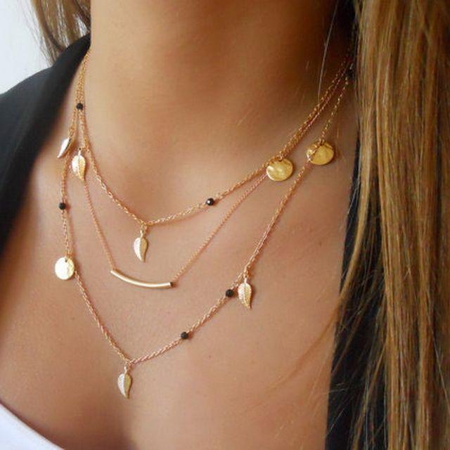Novas contas corrente de prata de ouro deixa colar de pingente de acessórios de moda jóias multi camadas colares para as mulheres Collier femme