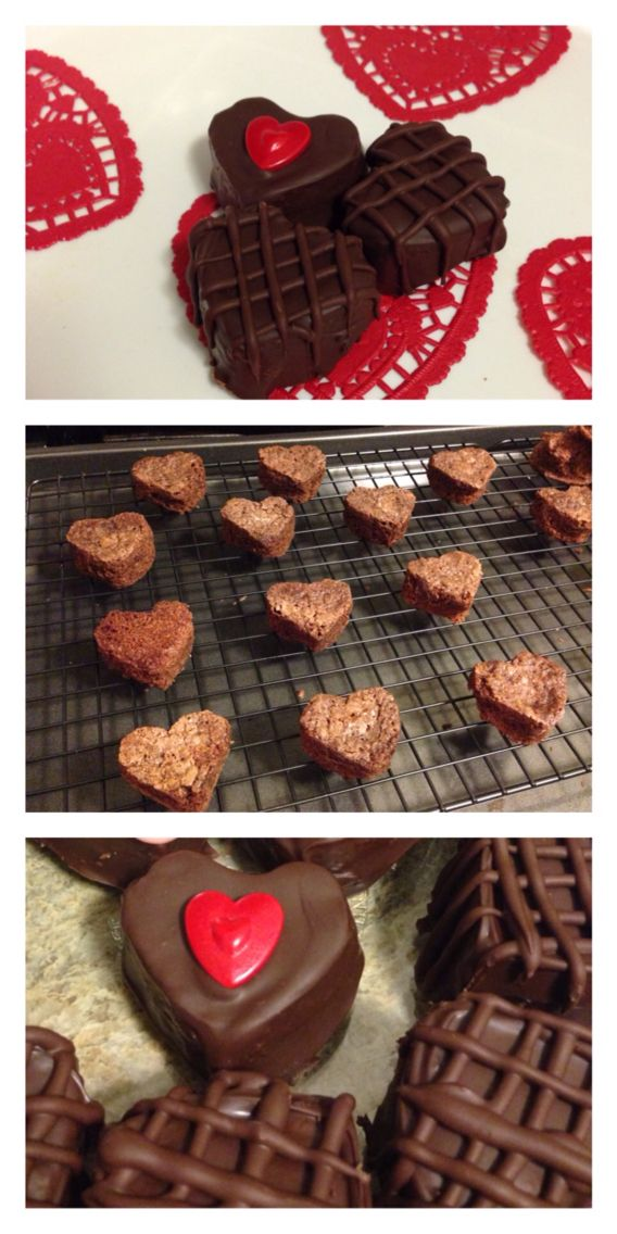 Valentine brownies enrobed in chocolate