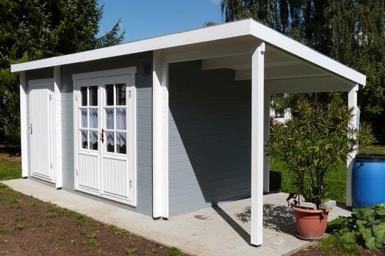 Kundenbild: Pultdach Gartenhaus Maria-28 mit Anbau & Schleppdach