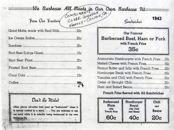 McDonald's started out as McDonald's Bar-B-Q in San Bernardino, CA in 1940 |  (PB with fries?!)