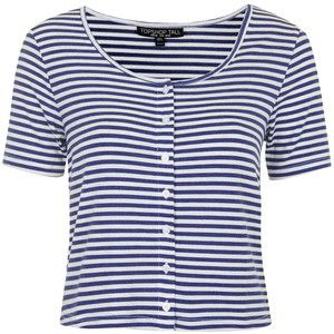 TOPSHOP TALL Button Front Stripe Top