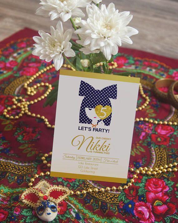 5th Birthday Invitation, 8 Year Old Girl Birthday Invitations, Let's party invite seven years old, Navy Gold, Polka Dots, Digital Printable
