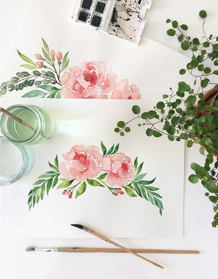 Watercolor by Gwendoline from Print Your Love Studio illustrating the collection of peonies. #weather #pony #pony #wedding #wedding #printyourlove #fairepart #rosepastel  – Aquarell | watercolor