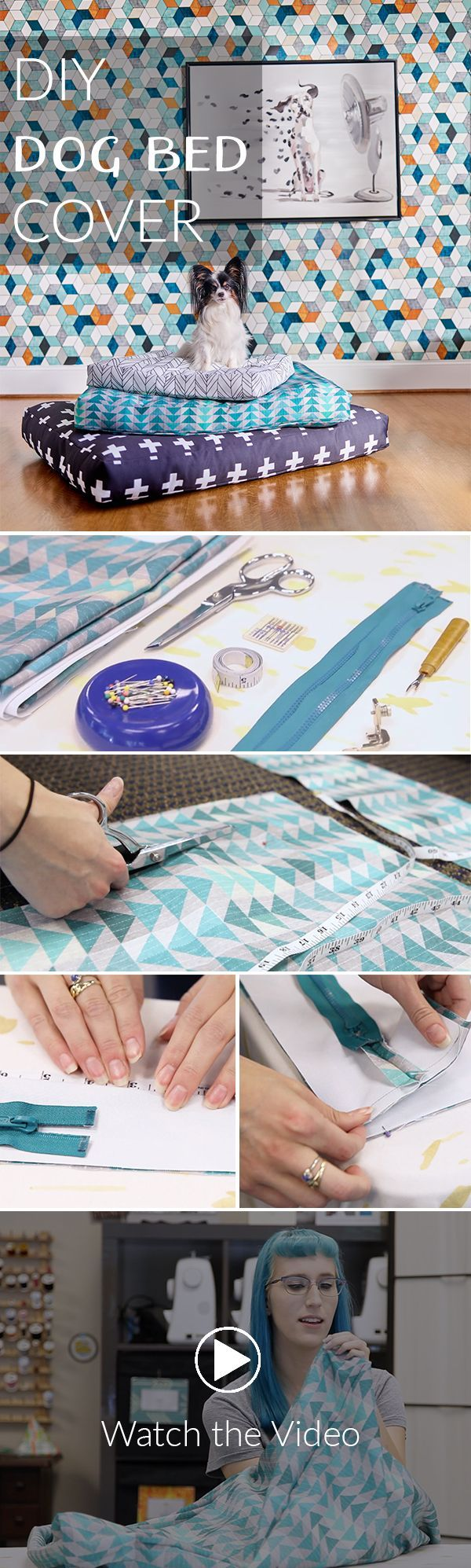 Totally Customizable DIY Dog Bed Cover | Video Tutorial - Make your own easy DIY Customizable Dog Bed for your pooch.  Click to see the easy sewing steps.