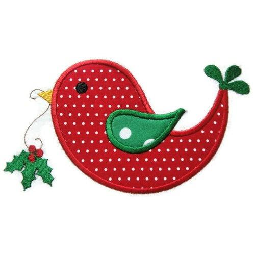 Christmas Holly Bird Applique Design
