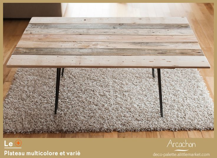 Table basse en palettes et pieds épingles en métal