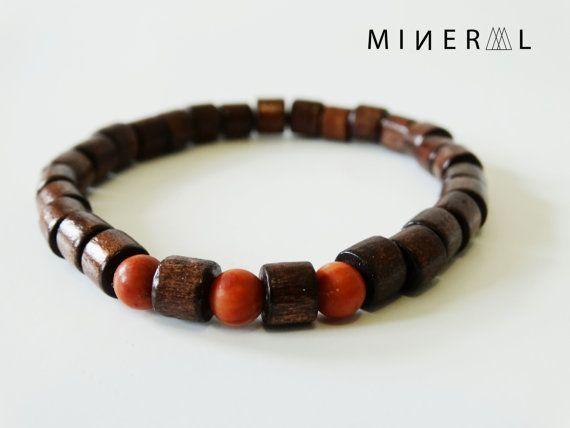 Brown Wooded Beads Man Bracelet par MNRL sur Etsy