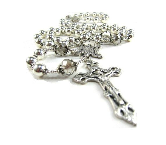 Check out this item in my Etsy shop https://www.etsy.com/ca/listing/92577982/handmade-silver-rosary-necklace-with