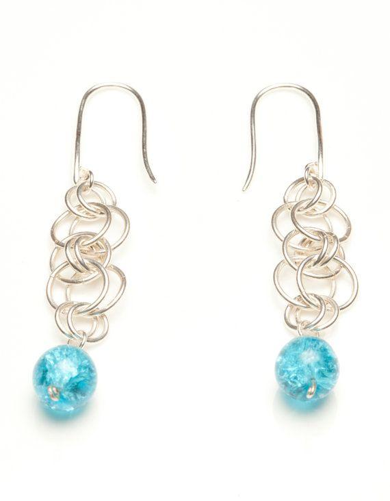 Sterling Silver Helmsweave Earrings with Blue Glass Beads
