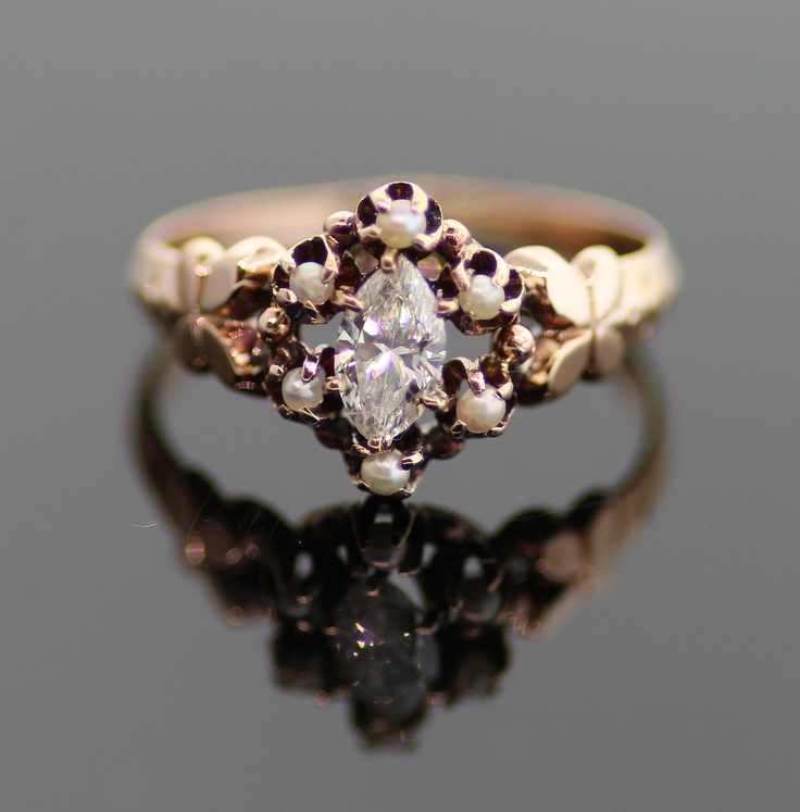 Vintage Diamond and Pearl Ring. Beautiful subtle colors. Too shiny on the band though.