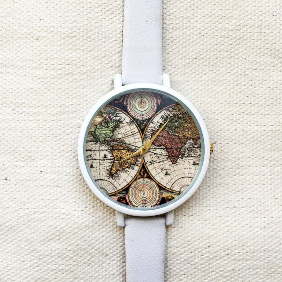 Map Print Watch Watches Women Leather Vintage Style by FreeForme