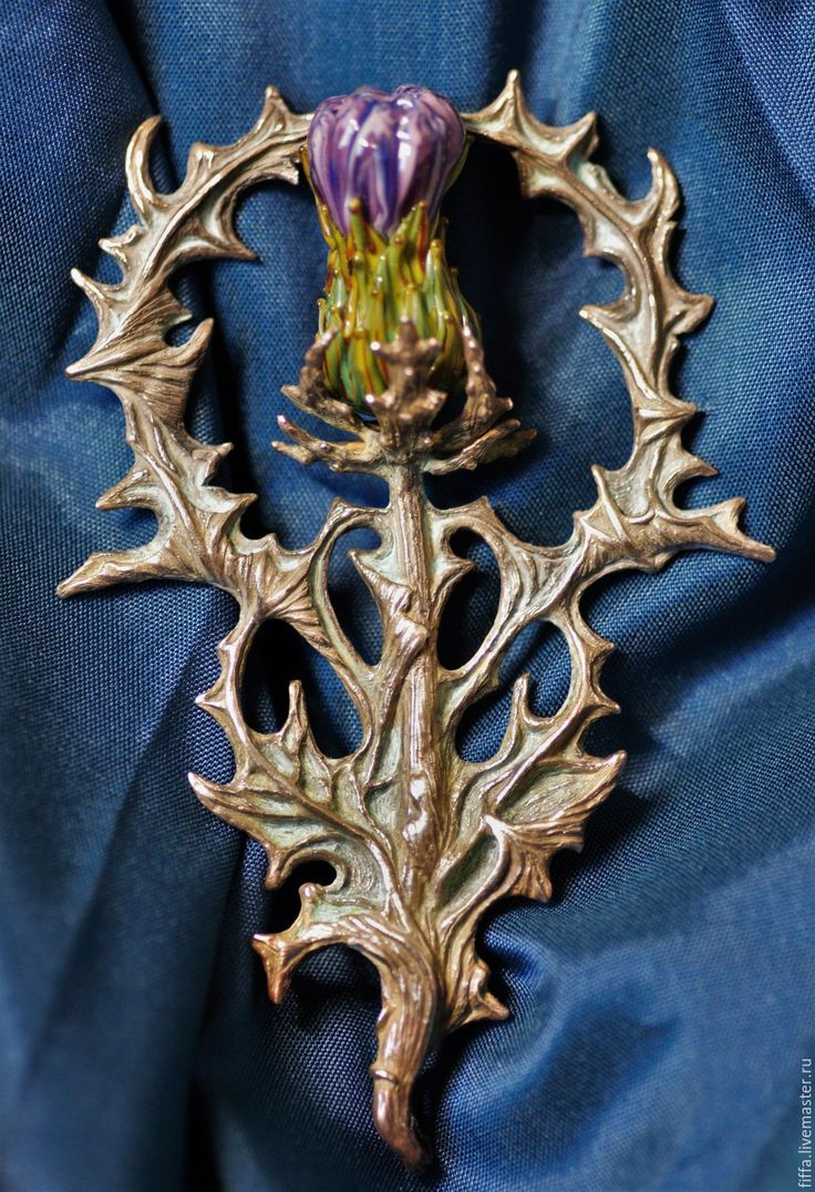 "Thistle brooch-pendant. Купить Брошь-кулон ""Tribulus"". - сиреневый, чертополох, брошь, кулон, брошь-кулон, арнуво"