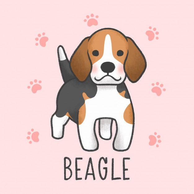 Cute Beagle Cartoon Hand Drawn Style Cute Cartoon Drawings Cute