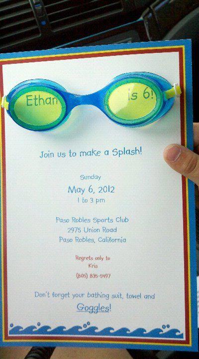 swim party invite...cute idea with goggles. A swim cap invite would be cute too!