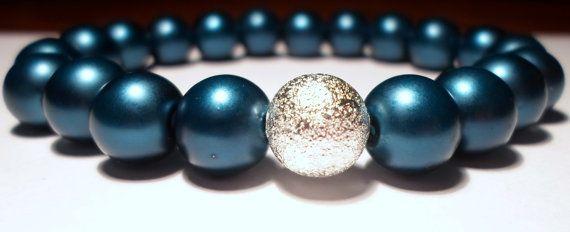 Blue Stretch Bracelet with Silver Stardust Bead