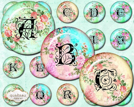 1 inch Alphabet Circles - Instant Download Circles Printable Printable Circles Glass Pendants Steampunk Letters