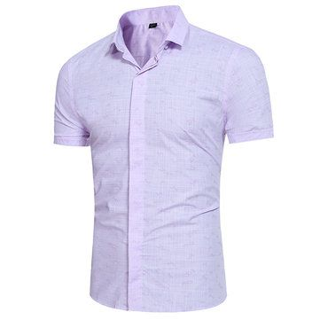 Bussiness Casual Solid Color Printing Slim Fit Short Sleeves Dress Shirt for Men