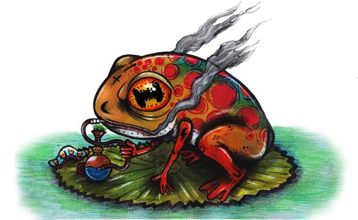Illustration of reptile smoking