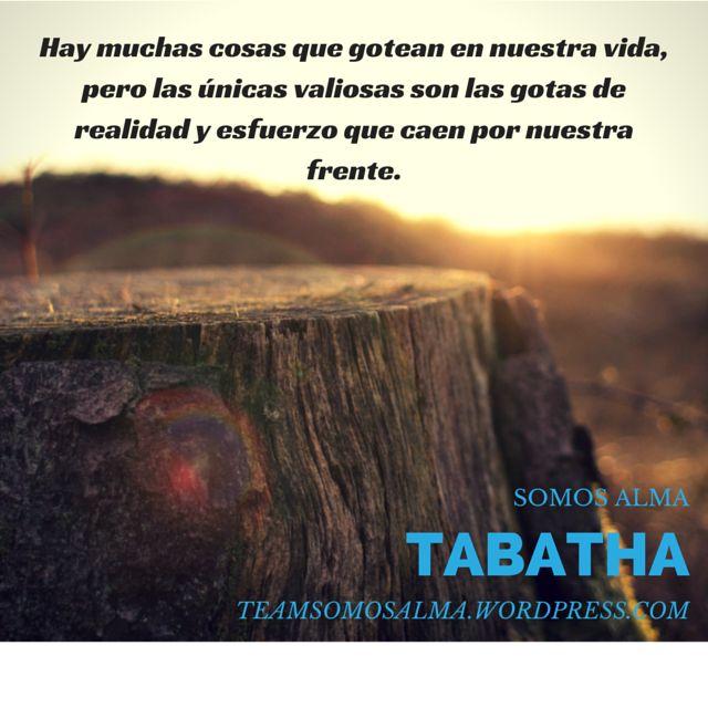 Hay muchas cosas que gotean en nuestra vida, pero las únicas valiosas son las gotas de realidad y esfuerzo que caen por nuestra frente. #Tabatha