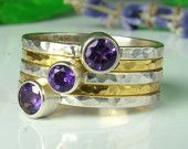 Amethyst Ring, Sterling Silver 935, Purple,Handmade,Stacking Rings, 24kt Gold, Vermeil