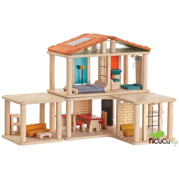 Diseña y construye la casa de muñecas a tu gusto con un diseño moderno y versatil. Juguete 100% ecológico.