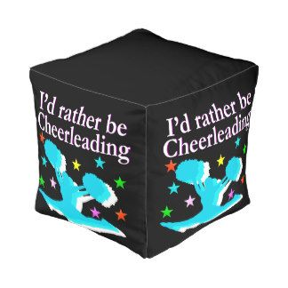BLUE RATHER BE CHEERLEADING DESIGN CUBE POUF Enjoy decorating your room with these pretty Cheerleading pillows, clocks and more. http://www.zazzle.com/collections/cheerleading_home_decor-119822019515977082?rf=238246180177746410 #Cheerleading #Cheerleader #Cheerleadergift #Lovecheerleading #Cheerleaderdecor