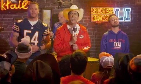 """Brian Urlacher got a jump on the Super Bowl cameos.    The former Chicago Bear appeared in the Rob Riggle-led send up of """"Lowly Teams"""" during Fox's pregame show.    Weird Al, Kristen Bell and John Travolta were also among those stars in the video."""