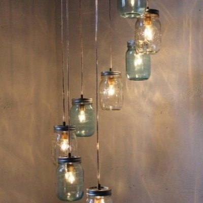 Mason Jar Chandelier! Like a staircase of light :)