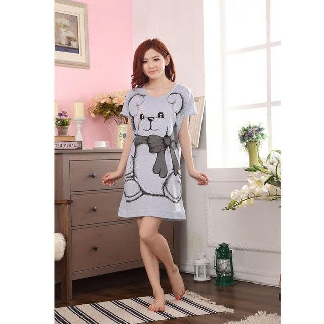 M-3XL Pink/Gray Big Bear Women Girl Sleepwear Nightwear Nightdress Sleepdress