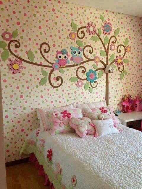 Gran idea para habitacion para ni as arbol con buhos for Murales dormitorios juveniles