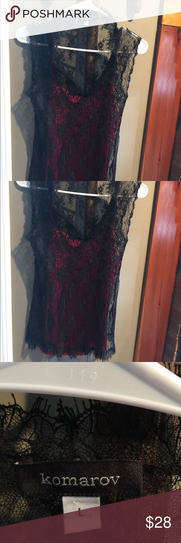Sleeveless layered blouse in black lace red cami Romantic and sexy. Lace overlay with silky red camisole attached. Flows beautifully and in excellent condition. Perfect for dinner dates and dancing🎶 Komarov Tops Camisoles