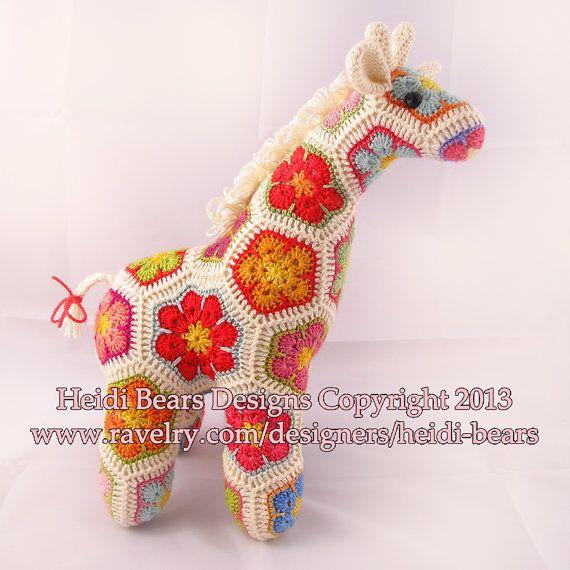 Jedi the Curious Giraffe African Flower Crochet by heidibears, pattern - $6.50