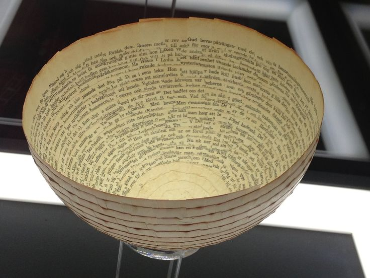 Red by Cecilia Levy - paper bowl made from old book pages, 1963 http://www.nationalmuseum.se/Global/Publikationer/NM_SlowArt_digital_fix_eng.pdf page 79