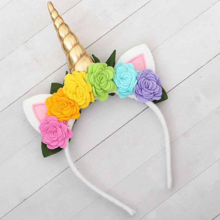 Unicorn Horn Headband with Rainbow Flowers Gold Unicorn