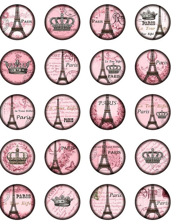 Vintage Paris Eiffel tower Winter Rose. Crowned Eiffel tower. Bottle Cap 1 inch Circle image Digital Collage Sheet Printable download 8314