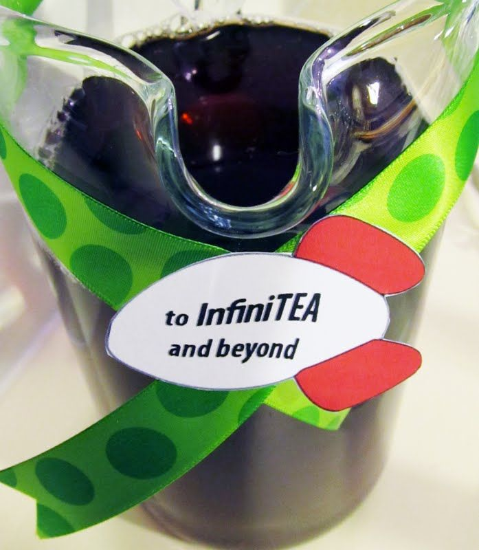 Toy Story Party themed food...InfiniTea...Slinky Dogs...Mashed Mr Potato Head...Pizza Planet Pizzas...