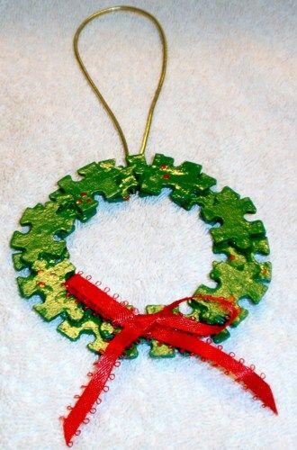 puzzel piece christmas ornaments | puzzle piece christmas ornament snowflake puzzle piece christmas ...
