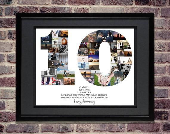 10th Anniversary Photo Collage 10th Anniversary Collage 10th Anniversary Gift 10 Year Anniversary 10th Birthday Collage Milestone