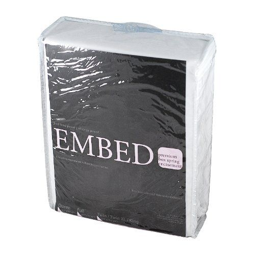 "Premium Embed Box Spring Encasement Bedbug Cover - Allergy Relief -King size by Embed. $39.95. King: 2 of  75"" x 38"" x 9""  - fits up to 11"" deep Box Spring. Bed bugs, Dust Mites and Allergens. Cold water wash with regular detergent. No bleach. Cool dry. Do not iron.. EMBED Box Spring Encasement Features: Use EMBED box spring encasement and cover to protect yourself from the unseen and pesky bed bugs, dust mites, and other allergens. All EMBED box spring encasemen..."