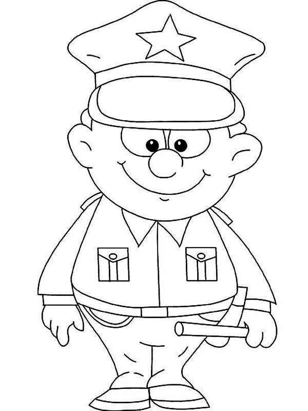 Cute Little Police Officer Picture Coloring Page - NetArt